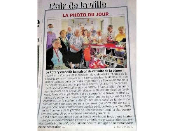un don de 1.000€ à l'EHPAD de la lègue le 04 juillet 2020